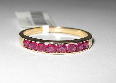 CLEARANCE 14k Yellow Gold Red Stone Eternity Ring 2.1gm Wedding Band #641307