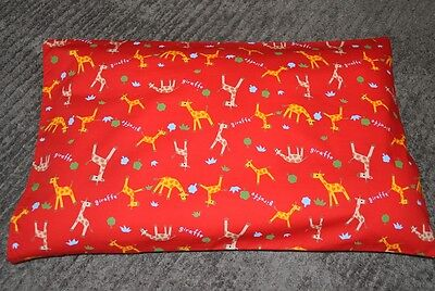 "New Unisex ""Giraffes"" toddler pillowcase in Red - to fit pillow 50 x 36cm"