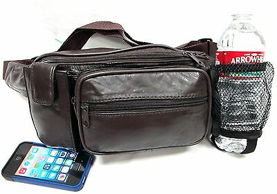 5 Pockets Large Genuine Lambskin Soft Leather Fanny Pack w/Water Bottle Holder