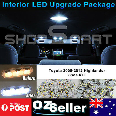 8pcs Interior LED Kit White Light Upgrade Package For Toyota Kluger 2008-2012