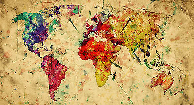Modern Abstract Colourful World Map Home Decor Canvas Print, choose your size.
