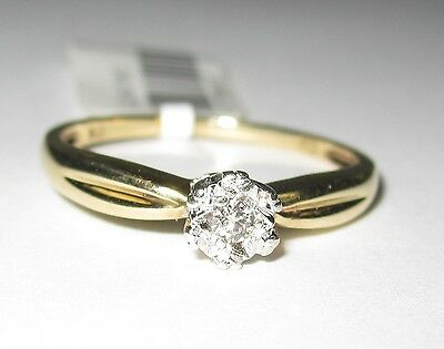 CLEARANCE 9k Yellow Gold Brilliant cut Diamond Engagement Ring 1.6gm #677238