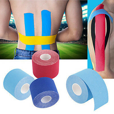 5M x 5cm Kinesiology Sport Muscle Tape Elastic Physio Therapeutic Roll UK BM