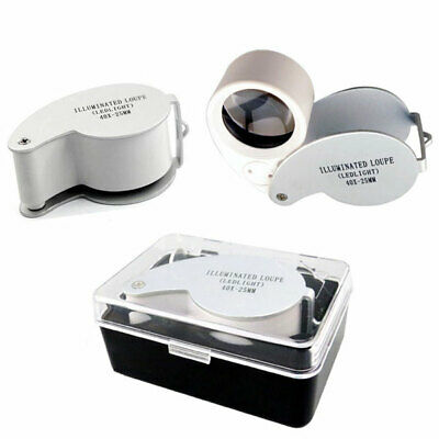 40X 25mm Metal Cover Jewellery Loupe Eye Hand Magnifier Glass Lens LED Light New