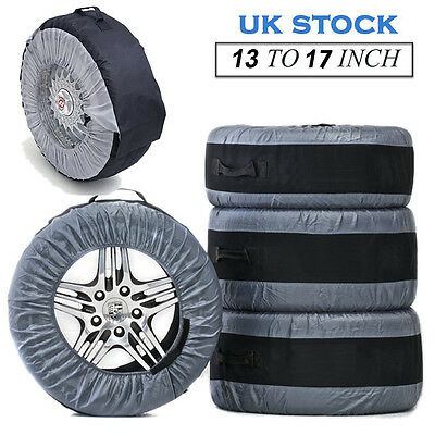 "4 Pcs Tyre Wheel Cover Storage Bags Spare Tyre Cover 13"" To 17"" Winter Snowing"
