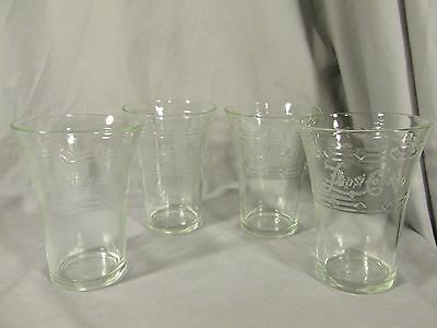 Pepsi Cola Vintage Flare Etched Soda Glasses Tumblers Set of 4 FREE SHIPPING