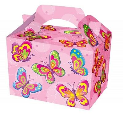 24 Girls Pink Butterfly Food Boxes ~ Picnic Carry Meal Box Birthday Party Plate