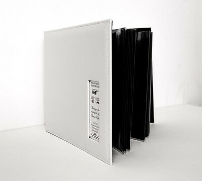 Photo Booth Scrapbook, 12x12 White leather Photo Booth album, 25 black pages