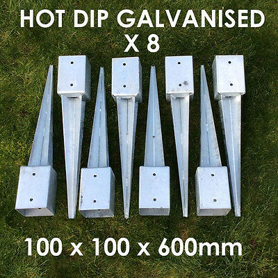 "8 X 100mm 4"" FENCE POST SPIKE METAL SPIKES  STAKES GARDEN FENCE ANCHOR SPIKE"