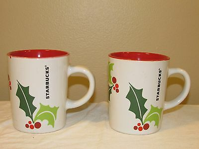 Starbucks 2011 Holiday Holly Berry Coffee Mugs Cups 9 Oz Set of 2 Red White