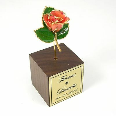 "3"" 24k Gold Dipped Pink Rose Personalized Stand (Free Anniversary Gift Box)"