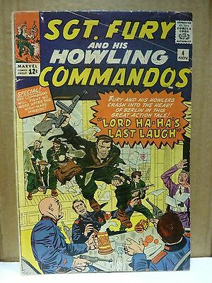 Sgt. Fury & His Howling Commandos  #4,  11/1963. Jack Kirby art. VG/VG-