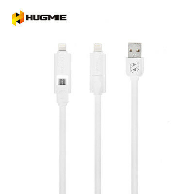 Hugmie 2 in 1 iPhone 5 6 SyncLightning & Samsung Micro USB Cable 2 Meter Silver