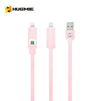 Hugmie 2 in 1 iPhone 5 6 SyncLightning & Samsung Micro USB Cable 2 Meter Pink