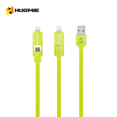 Hugmie 2 in 1 iPhone 5 6 SyncLightning & Samsung Micro USB Cable 2 Meter Green