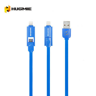 Hugmie 2 in 1 iPhone 5 6 SyncLightning & Samsung Micro USB Cable 2 Meter Blue