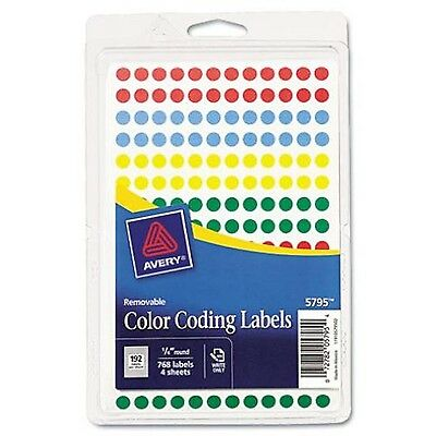 Avery Removable Color Coding Labels 0.25 Inches Assorted Round Pack of 768 (5...