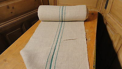 A Homespun Linen Hemp/Flax Yardage 16 Yards x 20'' Green Stripes  #7507