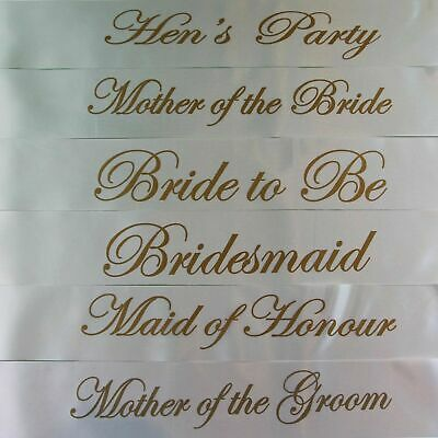 Hens Night Bridal Sash Sashes Bride Bridesmaid Maid Of Honour - White + Gold