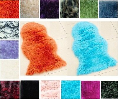 Sheepskin Soft Fluffy Faux Fur Rugs Hairy Washable Carpet Mat Non Slip Rug Mats