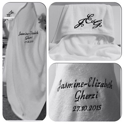 Personalised Embroidered Baby Hooded Towel, Initials Name, DOB Newborn New Gift