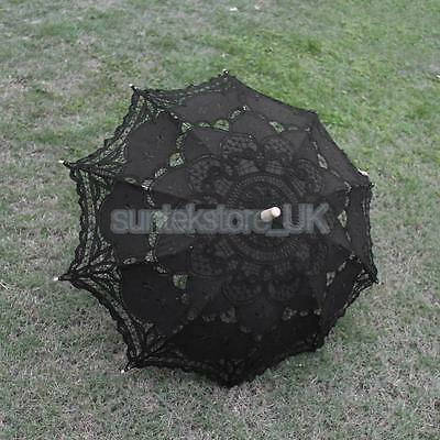 Handmade Cotton Lace Wedding Bridal Parasols Umbrella Black for Party Prom