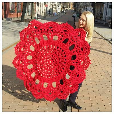 Crochet Doily Round Rug Carpet Handmade RED diametr 130cm 51'' Wedding with Love