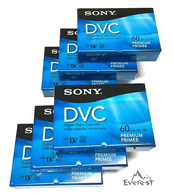 Sony Premium Mini DV Minidv Camcorder Digital Video 60 min Tape DVM60PRR 6pack