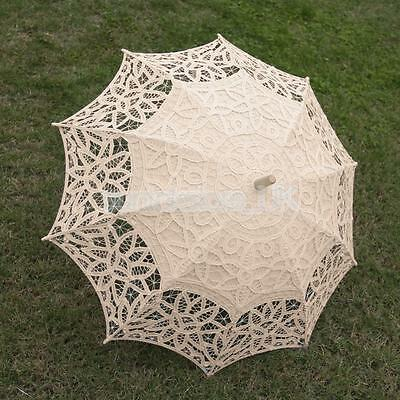 Handmade Cotton Lace Wedding Bridal Parasol Umbrella Beige for Party Prom