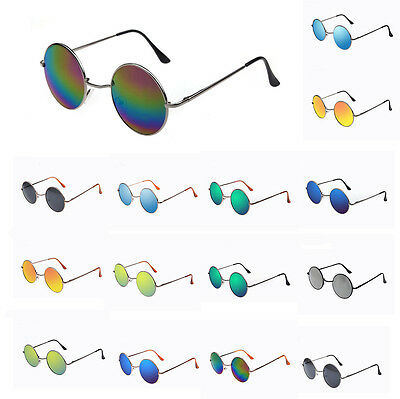 New Mens Women Sunglasses Hippie Retro Vintage Round Metal Frame Fashion Eyewear