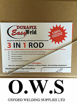 Aluminium Welding Brazing Low Temp Durafix Easyweld Rod - 225mm  TRIAL ROD