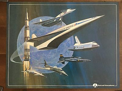 In COLOR Glossy Rockwell International Aerospace Vehicles Poster-circa 1990s