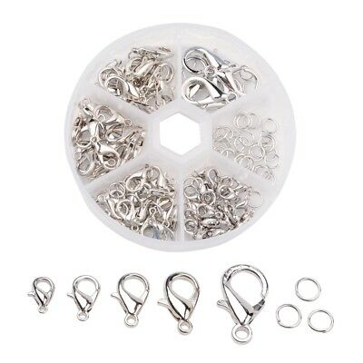 1Box Alloy Lobster Claw Clasps and Jump Rings Set Nickel Free Platinum Clasps