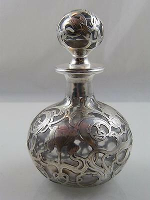 1900-1910 Sterling Silver & Glass Perfume Art Nouveau Bottle