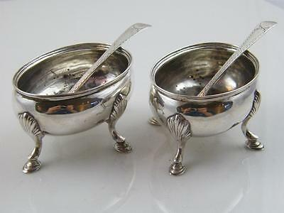 Pr 1798 Hm Sterling Silver Salts With Silver Spoons