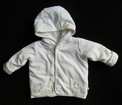 Baby clothes BOY GIRL 3-6mM&S white velour cotton-lined farm animals coat padded