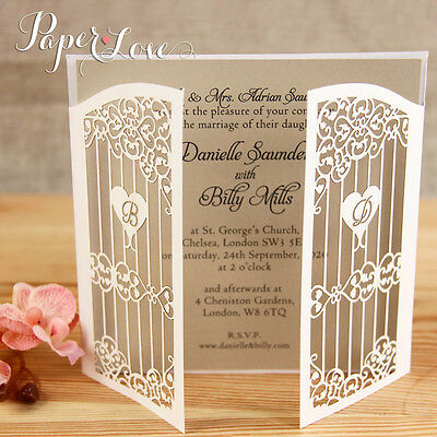 Personalised Gatefold Laser Cut Wedding Day Evening Invitations with Envelopes