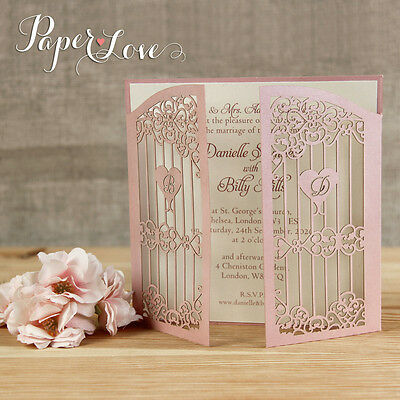 Personalised Ornamental Gate Laser Cut Day Wedding Invitation Free Envelopes