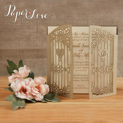 50 Gold Intricate Personalised Wedding Invitations Gate-Fold Free P&P Envelopes