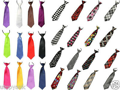 UK High Quality Boys Kids Plain Satin Elastic Pre Tied Neck Tie Wedding Party BN