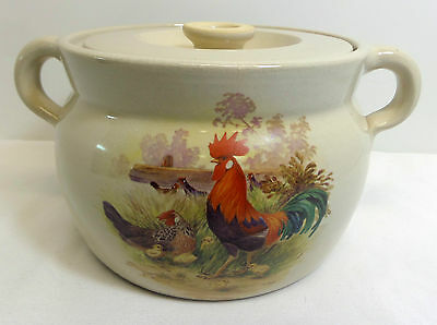 Vintage Shakers & Thangs Pottery Rooster Large Canister With Lid Marshall Texas