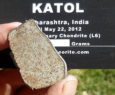 RARE 8.16 gram KATOL Meteorite slice with crust (2014 fall)