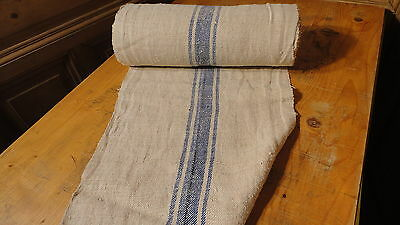 A Homespun Linen Hemp/Flax Yardage 17 Yards x 17'' Blue Stripes #7519