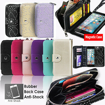 iPhone  7 Case 7 Plus 6s for Apple Zip Wallet Magnetic Leather Rubber back Cover