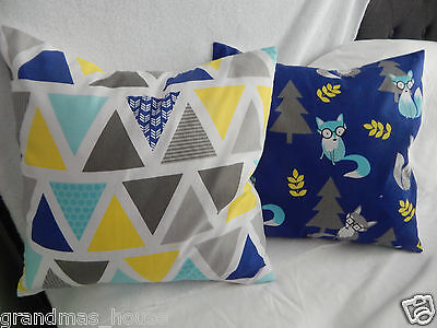 Blue Fox and Chevron Bunting Cushion Covers 1 Pair (2)  40cm x 40cm