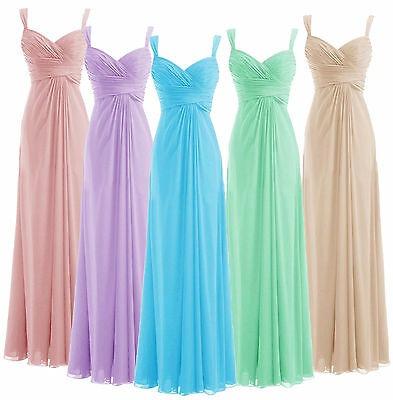 Long Chiffon Formal Evening Party Cocktail Dresses Wedding Prom Bridesmaid Gown