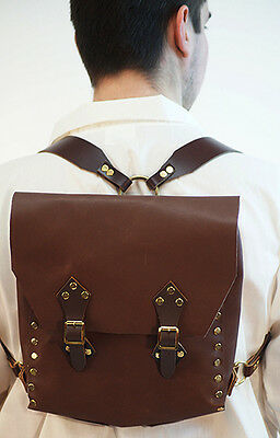 LARP-Reenactment-Cos-Play-Steam-Punk-Brown LEATHER RUCKSACK-BACKPACK One Size