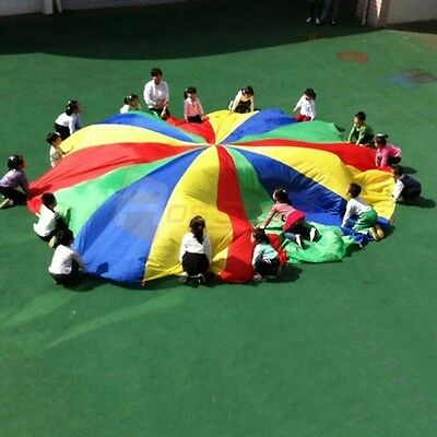 20 FT Rainbow Colorful Parachute Canopy Kids Play Exercise Indoor Outdoor Sport