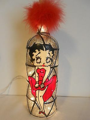 Betty Boop Inspiered Stained Hand Painted Lighted Wine Bottle Glass look