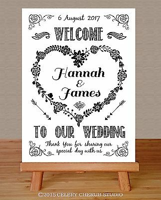 PERSONALISED Wedding Sign RUSTIC KRAFTCARD Style Print Poster - WELCOME HEART